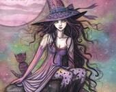 Enchanted Twilight Witch Cat Moon Fine Art Print 9 x 12 - Molly Harrison Fantasy Art