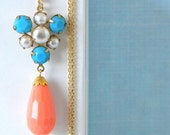 SALE Turquoise Pearl Coral Charm Necklace