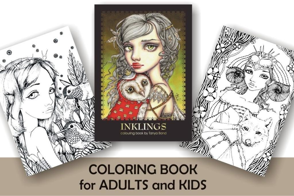 coloring colouring book for adults and children inklings featuring 24 illustrations by tanya - Kids Colouring Books