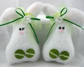 EASTER BUNNY Set of 2, Handmade Bunny Ornaments, Easter Decoration, Stuffed Bunny, Bunny Decoration, Plush Bunny, Green