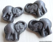 Czech Glass Beads - Czech Elephant Beads - Opaque Grey Jet Picasso Inlay Elephant Beads (GG - 33)