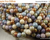 25% OFF Summer Sale 6mm Czech Glass Beads Smooth Round - Opaque Luster Mix 50 pcs (G - 413)