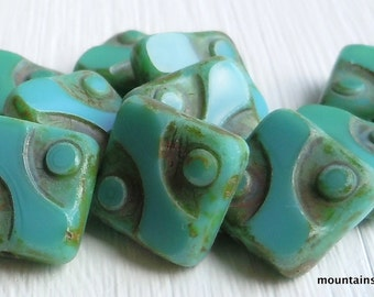 Czech Picasso Bead - Czech Glass Beads 10mm Square Bead - Opaque Turquoise Picasso - 10 Beads (G - 587)