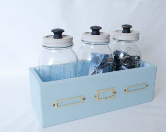 Mason Jar Vintage Style Storage Box with 3 Quart Jars