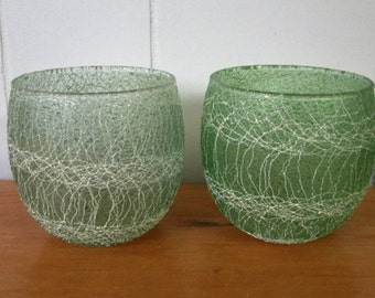 2 vintage green  drizzle spaghetti roly poly glasses