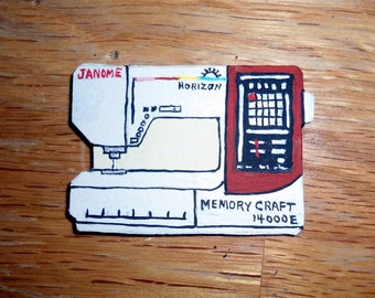 Pin Sewing Machine, Janome Pin, Memory Craft 14000E Pin, Broach, Decorative Jewelry, sewing motif, collectible, unique sewing machine pin
