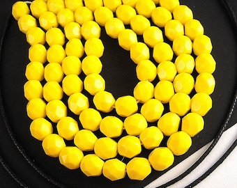 50 Daffodil Yellow Faceted Czech Glass Beads, 6mm, FULL Strand, Opaque Yellow, BRIGHT Yellow Czech Beads, Faceted Czech, Fire Polished B92