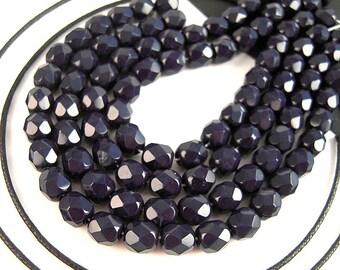 50 DARK Blue Czech Glass Beads, 6mm, Opaque Blue, Navy Blue, Faceted Beads, Blue Czech Beads, FULL Strand, Faceted Czech, Fire Polished B94