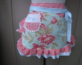 Monogrammed Rose Aprons - Bridemaids Aprons- Cottage Chic Aprons - Rose Aprons - Handmade Apron - Shabby  Chic Apron - Annies Attic Aprons