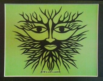 """Green Man Papercut - original, matted and framed, 14"""" x 11"""""""