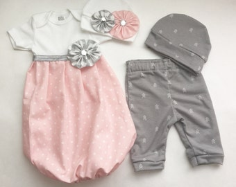 SIBLING twin set.... Brother and sister newborn outfits--- shabby chic pink polka dots gown and  grey pants with hats-children's clothing--