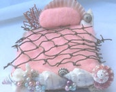 OOAK Pink Fairy Mermaid bed with shells Forest Whimsy