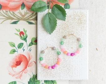 Pink Quartz and Gemstone Hoop Earrings, Beaded Hoop Earrings,Gold Hoops, Silver Hoops