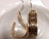 Floral design half Hoop Earrings Etched