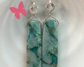Chrysocolla long dangle earrings Sterling Silver