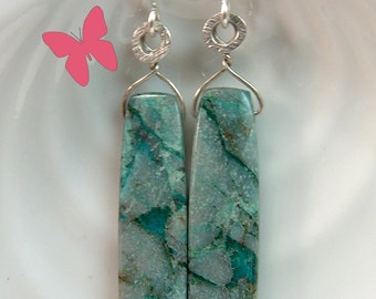 Chrysocolla long dangle earrings Sterling Silver