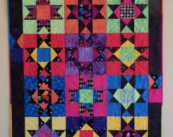 """You Bug Me Quilt, Wall Hanging, Wonky Ohio Star 33"""" x 42"""""""