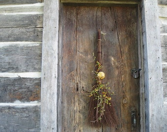 Bittersweet BROOM WREATH alternative Hanging autumn dried Flowers