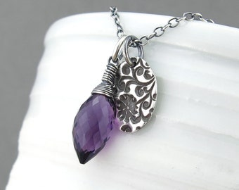 Amethyst Necklace Simple Silver Necklace Purple Gemstone Pendant Necklace Gemstone Jewelry Handmade Silver Jewelry - Solo