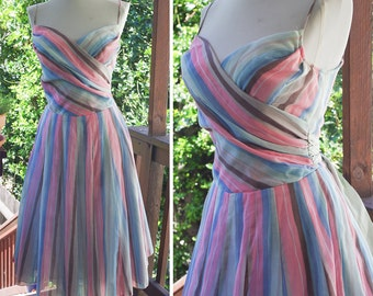 Cotton CANDY Stripes 1960's Vintage Light Blue Pink + Grey Striped Dress with Silk Bow // size XS Small