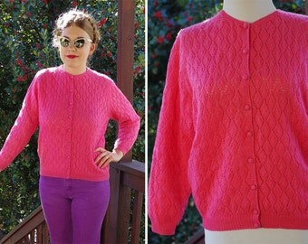 HIBISCUS Pink 1950's 60's Vintage Hot Pink Wool Eyelet Knit Cardigan Sweater with Lining // A Tally Ho Creation // size Large
