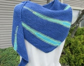 Hand knit shawl, shawlette, kerchief scarf, all season shawl, in royal blue with turquoise and green accent stripes, spring summer shawl