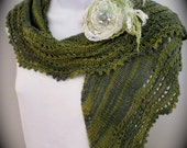Hand made lace knit shawl in shades of green and blue with a gold thread, dressy wrap, all season shawl, knit lace shawl, kerchief scarf