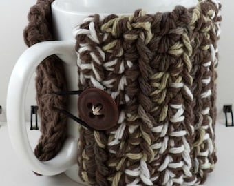 Crocheted Coffee or Ice Cream Cozy in White and Brown Colors (SWG-I26)