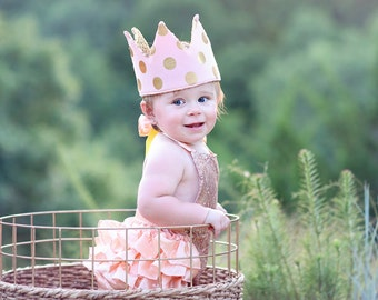 Dress Up Crown - Sequin Crown - Birthday Crown - Blush and Gold Polka Dots Crown- Gold Sequin Crown - Fits all - Reversible Crown
