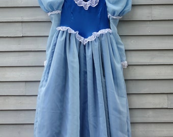 Girl, size 6/8, Princess dress, Shades of blue with white and silver lace.