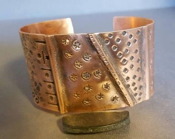 Foldformed Textured Copper Cuff Bracelet