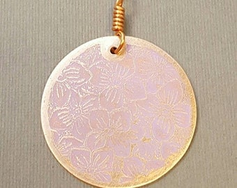 Pinky Purple Posey Copper Circle Pendant