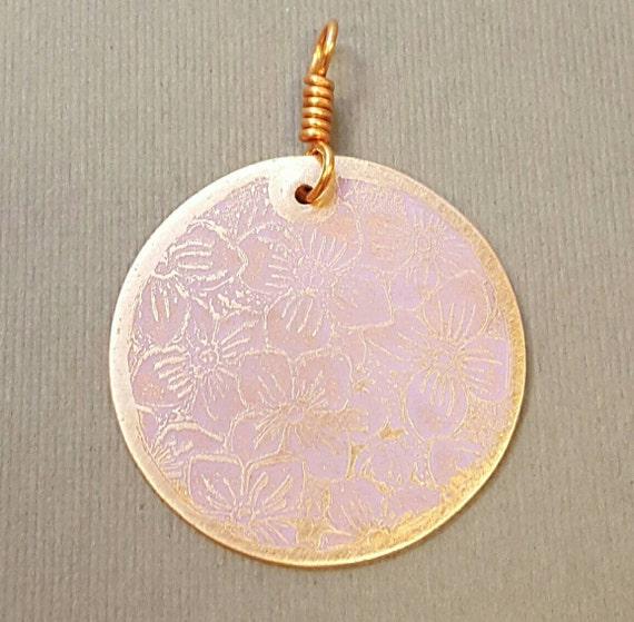 Pinky Purple Posey Copper Circle Pendant