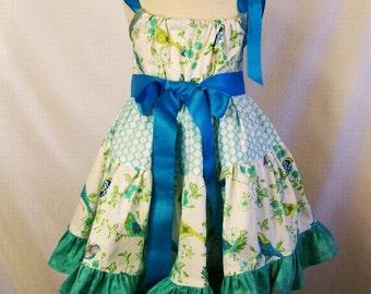 Girls Aqua Tiered Fancy Pillowcase Dress Dress,  Handmade Toddler Girls Clothing, Gift for Girls, Made in the USA, #128