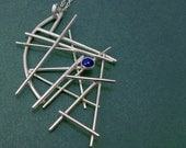Pick-Up-Sticks Sterling Silver Stick Sculpture One-of-a-Kind Art Necklace with Lapis Accent by Judi Goldblatt Studio