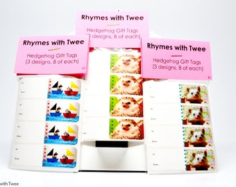 Small Hedgehog Gift Tag Sticker Set of 24, 8 of each label in 3 designs