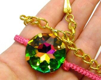 Rainbow Crystal Choker - Macramed Pink Cord & Large Vitrail Medium Color Round Crystal Charm