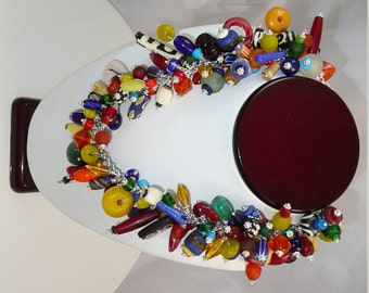Storyteller - bold choker necklace made of a vibrant mix of beads from around the world