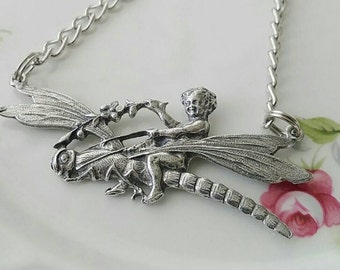 Silver Dragonfly and Cherub Necklace, Fantasy Jewelry, Pewter Jewelry, Insect Necklace, Nature Inspired Jewelry
