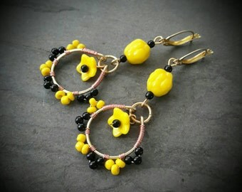 Flower Beaded Earrings, Gypsy Earrings, Brass and Copper Wire Wrap Earrings, Yellow and Black Earrings, Black Eyed Susan, Bohemian Earrings