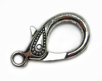 Silver Clasps || 31x16mm Antique Silver Lobster Clasp (2630) 2, 4, or 6pcs || Large Lobster Clasp || Lobster Claw