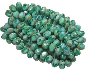 Czech Picasso Beads 6x8mm Blue Lagoon Picasso Fire Polished Quadrie Rondelles 25pcs (4661) Czech Fire Polished Beads || Czech Glass Beads