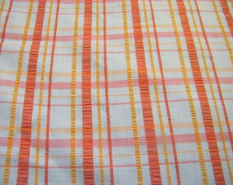 Vintage cotton blend  seersucker fabric plaid, orange, raspberry, ecru with a silk look
