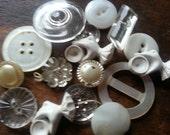 Vintage Clear Glass, Milk Glass, MOP, Plastic Buttons