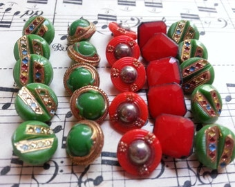 25 Lovely Small Glass Buttons, Diminutive. Doll Buttons. Self Shanking.