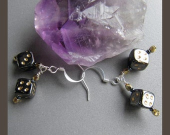 Magician Glass & Crystal Lucky Dice Earrings