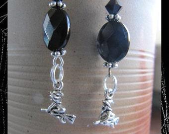 Halloween Witch Charm Earrings EHAG by Cornerstoregoddess