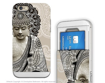 Paisley Buddha iPhone 6 6s Wallet Case - Buddhist Art for iPhone 6 - Beige Buddha Credit Card Holder iPhone 6s Case with Rubber Sides
