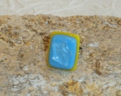 Yellow and Aqua Stacked Dichroic Glass Adjustable Ring