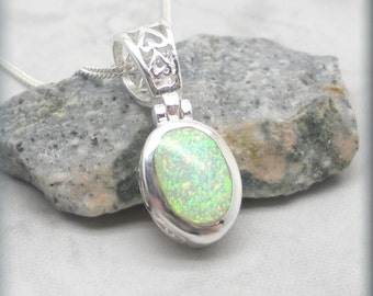 White Opal Necklace, Filigree, Sterling Silver, October Birthstone Jewelry, Opal Jewelry, Opal Pendant, Gift for Her, Birthday Gift (SN916))